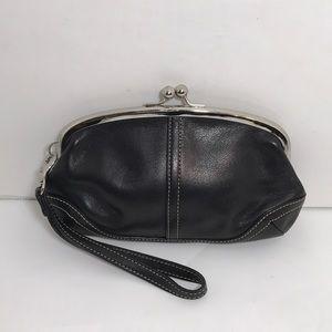 Coach Vintage Black Leather Wristlet Clutch Bag
